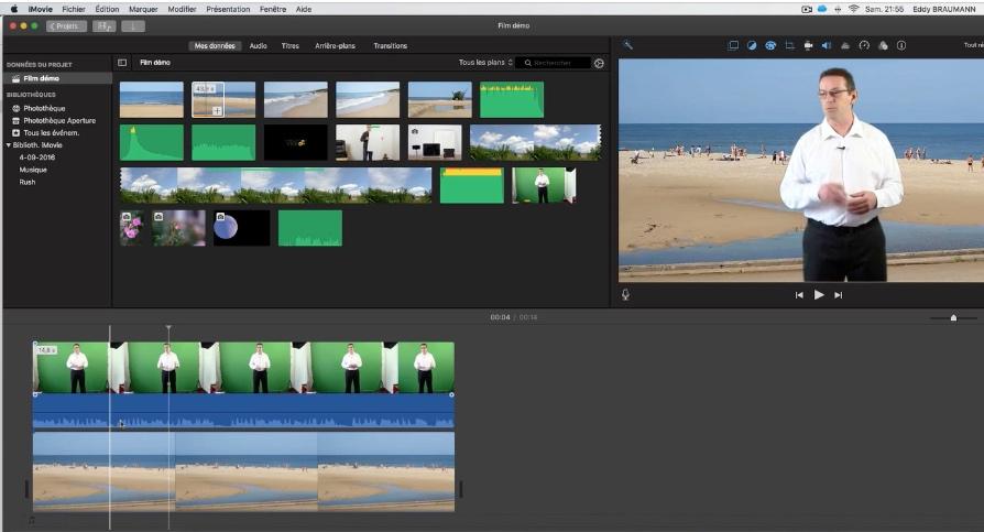 imovie-fond-vert faire un montage video sur mac