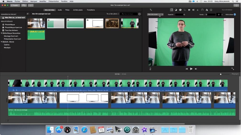 imovie montage video fond vert